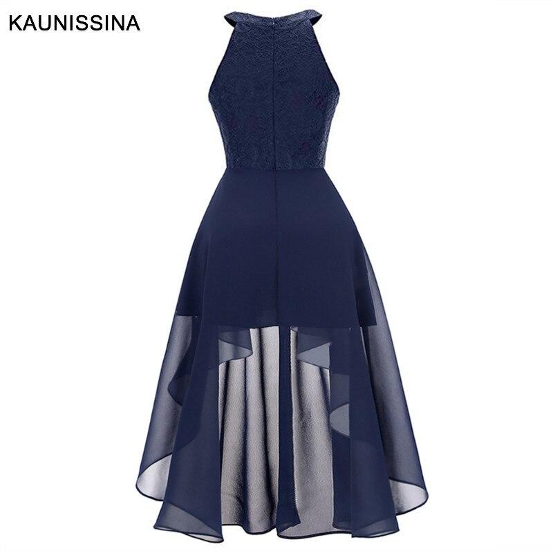 Image 4 - KAUNISSINA Cocktail Dress Women Elegant Halter Asymmetrical Chiffon Homecoming Dresses Femmale Sexy Party Robe Prom GownsCocktail Dresses   -