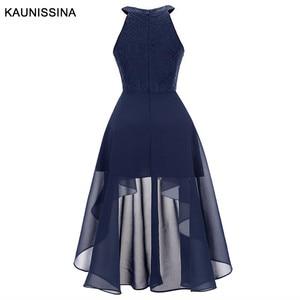 Image 4 - KAUNISSINA קוקטייל שמלת נשים אלגנטי הלטר סימטרי שיפון שיבה הביתה שמלות Femmale סקסי חלוק מסיבת נשף שמלות