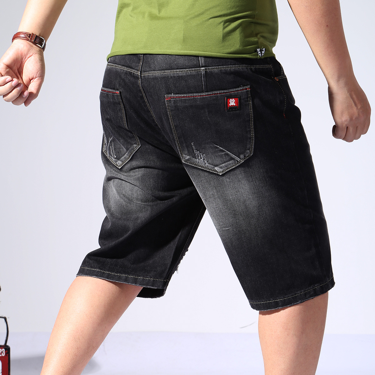 16703 No Bombs Large Size With Holes Denim Shorts Men's Plus-sized Breeches Summer Large Size Shorts Men's 32-48