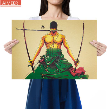 AIMEER Anime One Piece Roronoa Zoro Sauron Comic Cartoon Character A Kraft Paper Poster Retro Bar Cafe Decor Painting 51*36cm image