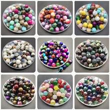 Miçangas de vidro multicoloridas, 6 8 10mm, para fazer jóias, brincos, pulseira, colar