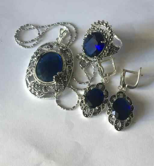 Jewelry Pearl Set Lady's designed blue jade Marcasite 925 Sterling Silver Ring(#7-10) Earrings & Pandent jewelry s Free Shipping