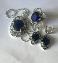 Jewelry Pearl Set Lady's designed blue jade Marcasite 925 Sterling Silver Ring(#7-10) Earrings & Pandent jewelry s Free Shipping(China)
