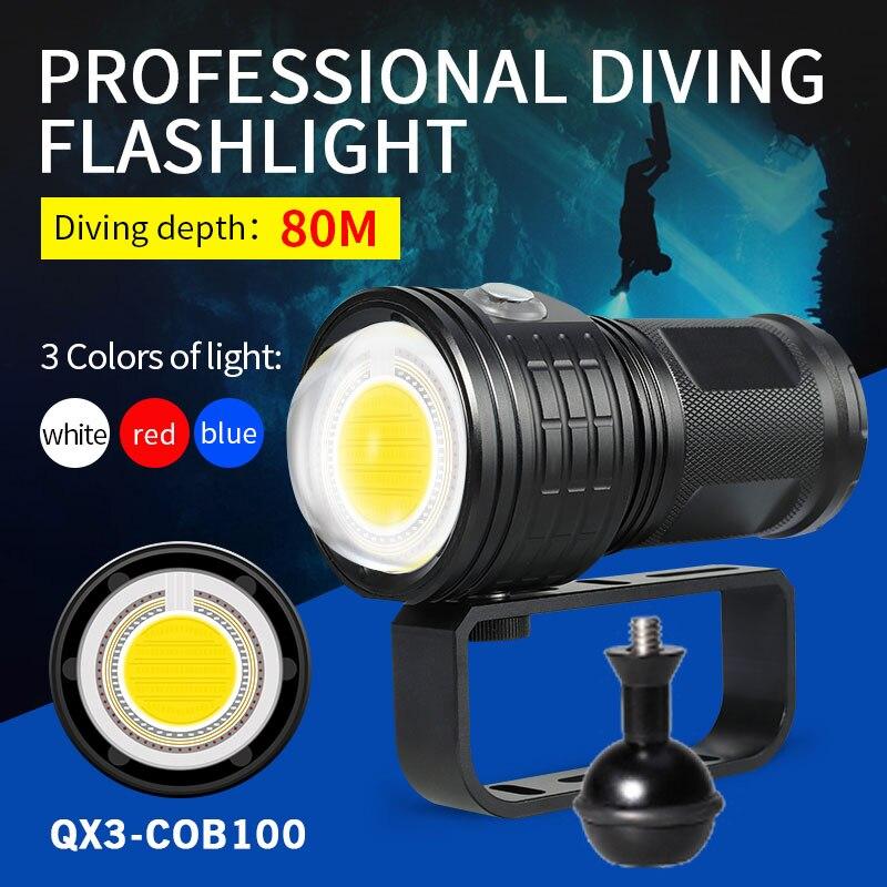 500W 8000LM Diving Flashlight Photography LED Light Underwater 80m IPX8 COB Torch Lamp Multifunction Diving Light Flashlight