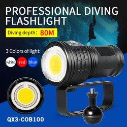 Linterna de buceo de 500W y 8000LM, luz LED para fotografía subacuática de 80m, lámpara IPX8 COB, linterna multifunción para buceo