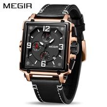 MEGIR Unique Men Watch 2019Top Brand Luxury Chronograph Quartz Watches Men Leather Sport Army Military Black Men's Wrist Watches