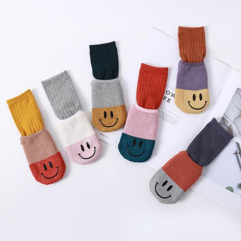 Winter New Style Cotton Fashion Cartoon Smiley Baby Socks Anti-slip Dispensing Looped Pile Set Socks