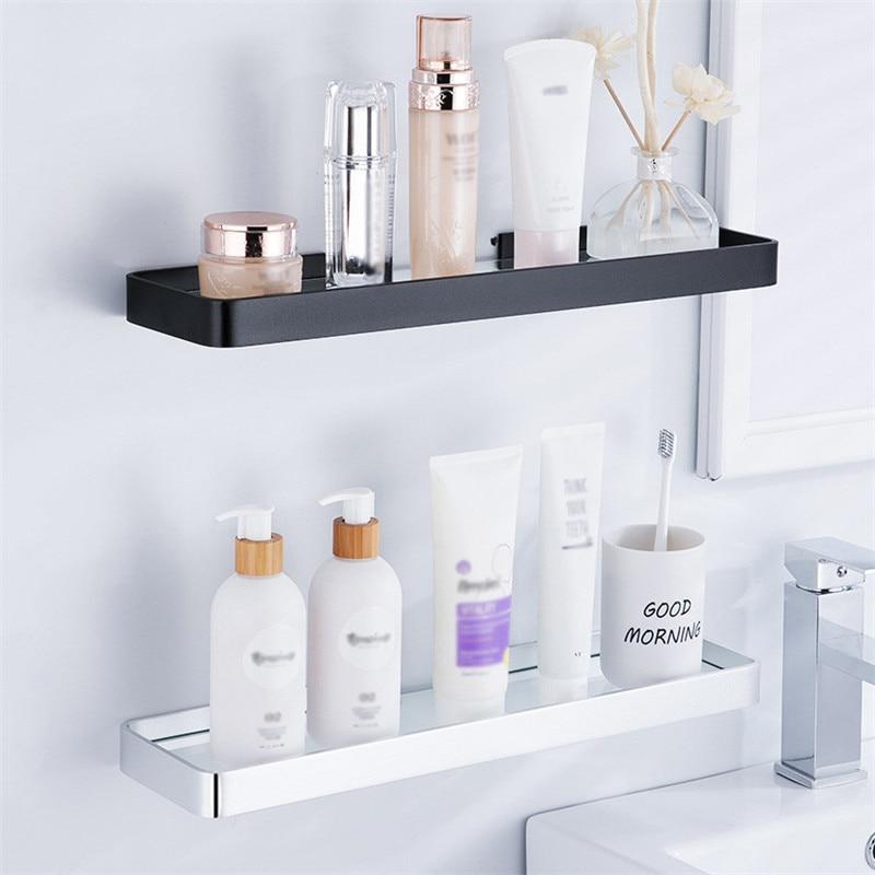Punch Free Bathroom Shampoo Shower Shelf Holder Space Aluminum Storage Rack Wall Shelf Bathroom Accessories 25cm/35cm/45cm