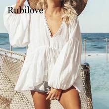 Rubilove Ruffle Boho White Blouse Top Women 2019 Summer Autumn Retro Billow Long Sleeve V neck Sexy Shirt Ladies Casual Beach We