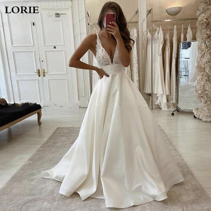 LORIE Princess Wedding Dress A-Line Deep V Neck Lace Bride Dresses Satin Fabric Boho 2020 Dubai Wedding Gowns
