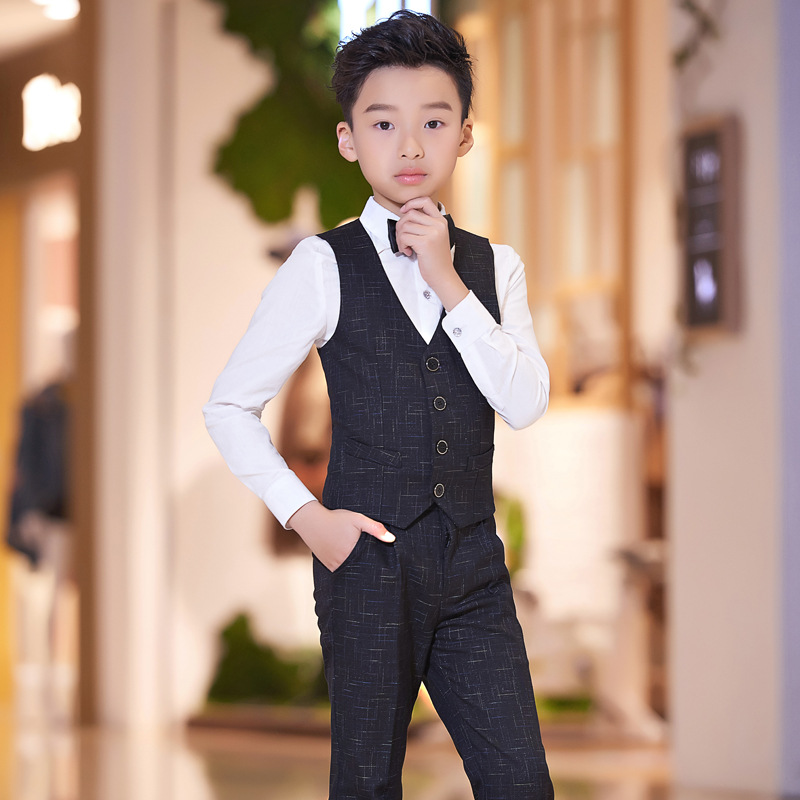 Kids Suit For Weddings Birthday Party Flower Boys Tuxedo Formal Vest + Pants +Shirt+Bow Children Piano Prom Performance Costume