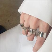 Personalidade punk legal link corrente ajustável quatro anéis de abertura para mulheres homens cruz pingente girar anel de dedo hip hop jóias