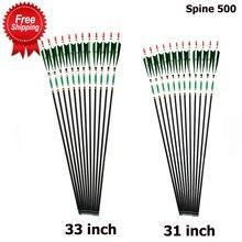 31/33 zoll Carbon Pfeil Wirbelsäule 500 OD 7,6mm ID 6,2mm Grün Farbe Reale Feder für Recurve Bogen Bogenschießen jagd Schießen