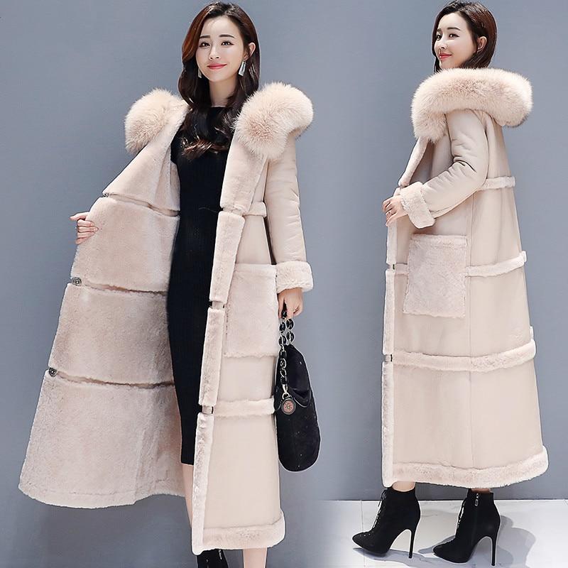 Winter Faux Fur Coat Women Clothes 2020 Korean Faux Sheep Shearing Fur Jacket Ladies Long Thick Warm Outerwear TF81135