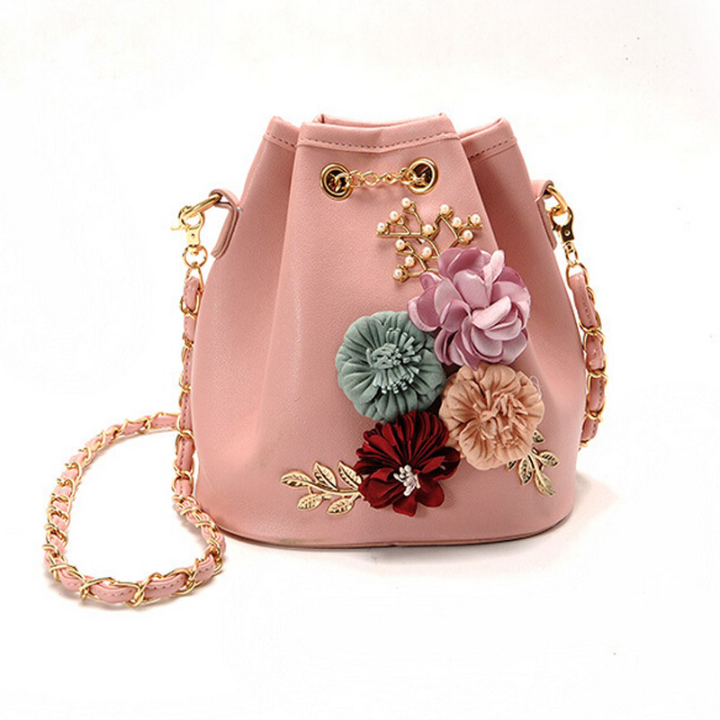 2021 New Fashion Trend Women Handbag PU Leather Bucket Shoulder Bag Chain Flowers Crossbody Bag Female Chic Messenger Hand Bags