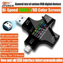 Usb 3.0 tipo-c usb tester dc voltímetro digital amperimetor medidor de corrente de tensão amperímetro detector indicador de carregador de banco de potência