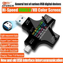 USB 3 0 typu C USB tester DC woltomierz cyfrowy amperimetor miernik napięcia prądu amperomierz wykrywacz power bank ładowarka wskaźnik cheap ATORCH CN (pochodzenie) Elektryczne Cyfrowy tylko 61*68*10 8mm USB DC Power -10-60Degrees 1 (Software calibration technique)