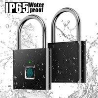 Su geçirmez parmak izi akıllı kilit anahtarsız asma kilit kapı kutusu çantası USB şarj kilitleme THIN889|Kilit Gövdesi|Ev Dekorasyonu -
