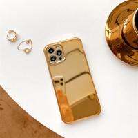 Lujosa funda de teléfono chapada en oro con brillo galvanizado para iPhone, carcasa suave con tapa de espejo para iPhone 12 Pro Max 11Pro X XR XS MAX 8 7Plus