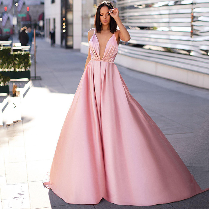 Eightree Pink A-line Evening Dress Long Spaghetti Backless Formal Party Gown vestidos de fiesta de noche Vintage Prom Dresses