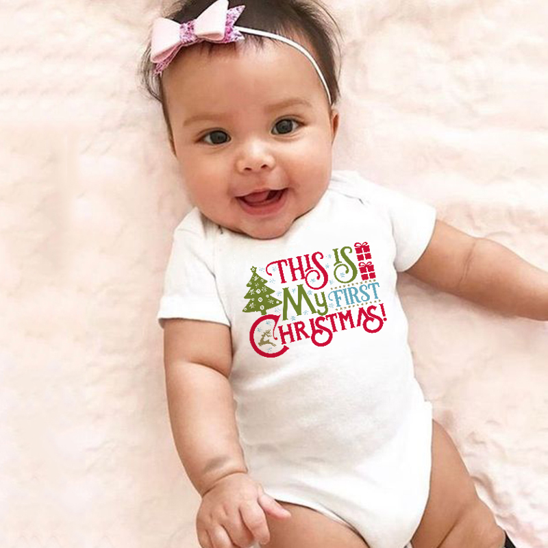 This Is My First Christmas Baby Cotton Bodysuit Funny Newborn Boy Girl Short Sleeve Jumpsuit Infant Unisex Soft Kawaii Clothes