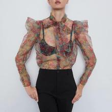 Sexy Chiffon Transparent Blouses Women Autumn With Bow Printed Floral Long Puff Sleeve Short Tops And For Ladies