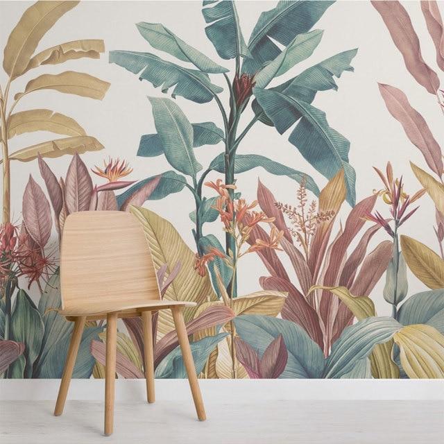 Bacaz Custom Banana Leaf Wallpaper Canvas Print Tropical Rain Forest Plant Background Mural Home Decor 3d Photo wall paper 1