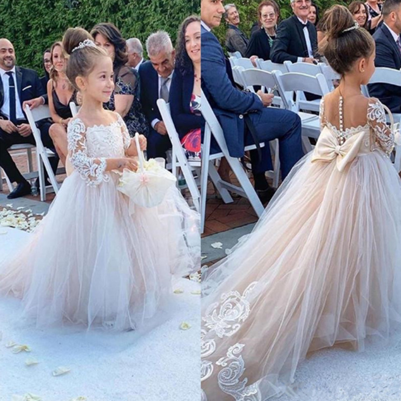 Classic Tulle Flower Girl Dress with Bow Lace Appliques Long Sleeve For Wedding Birthday Ball Gown First Holy Communion Dresses