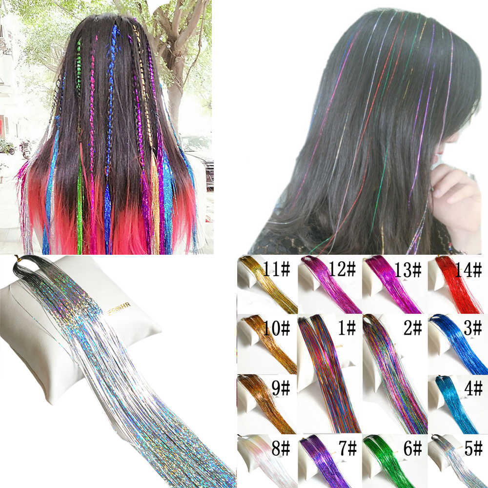 10pcs/lot Holographic Sparkle Woman Hair Glitter Tinsel Extensions Dazzles Bling Hair 150Strands/pcs With 14colors