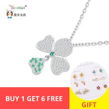 лучшая цена Hot sale 100% 925 Sterling Silver Crystal CZ flower pendant necklaces fine jewelry Free shipping women jewelry for gifts