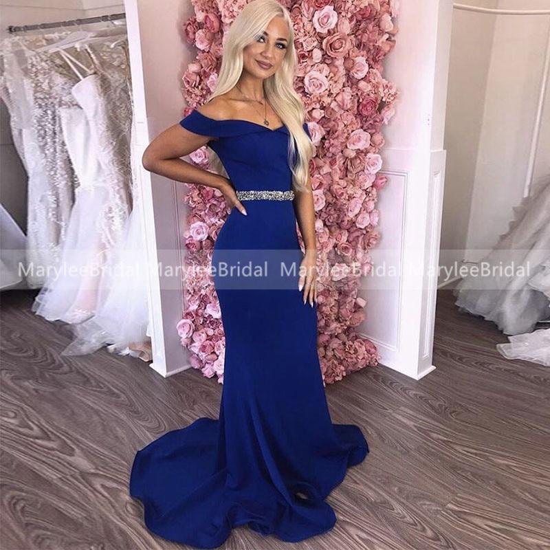 Off Shoulder Royal Blue Evening Dress With Beading Belt Long Formal Party Dresses Vestidos De Gala Mermaid Dresses For Women