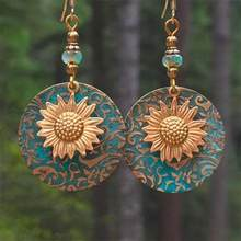 Bohemia ouro-chapeado girassol brinco noivado casamento gota brincos para mulher menina bijoux atacado