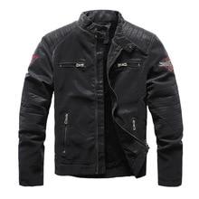 KIOVNO Men Winter Pu Leather Jacket Coats Fleece Lined Motorcycle Embroidery
