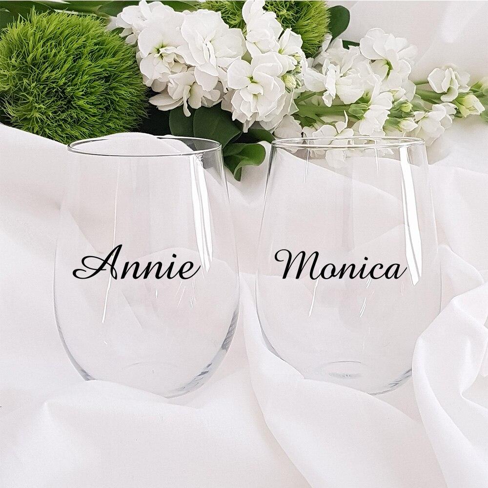 Индивидуальная наклейка с именем на свадьбу, вечеринку, стеклянные виниловые наклейки, Классические бокалы цвета шампанского, наклейки с и...