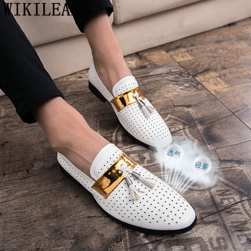 Summer Breather Hollow Out Formal Shoes Mens Leather White Wedding Shoes Tassels Oxford Shoes For Men Dress Shoes 2020 Loafers
