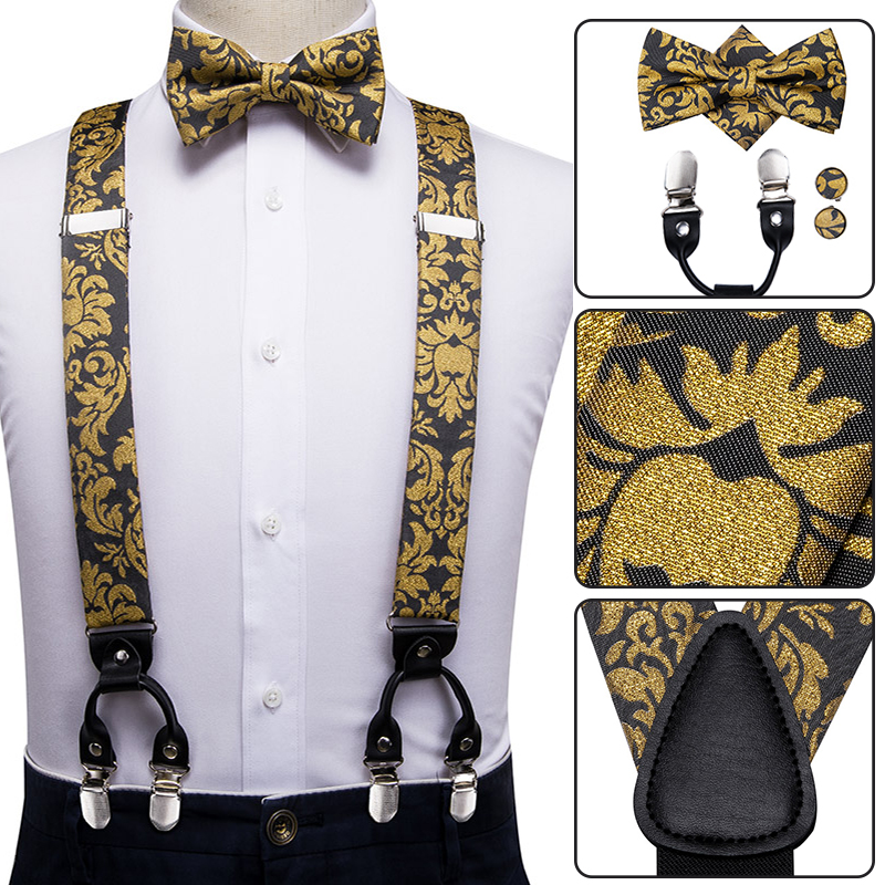 Dark Brown Suspender and Bow Tie Set for Adults Men Women Teenagers USA