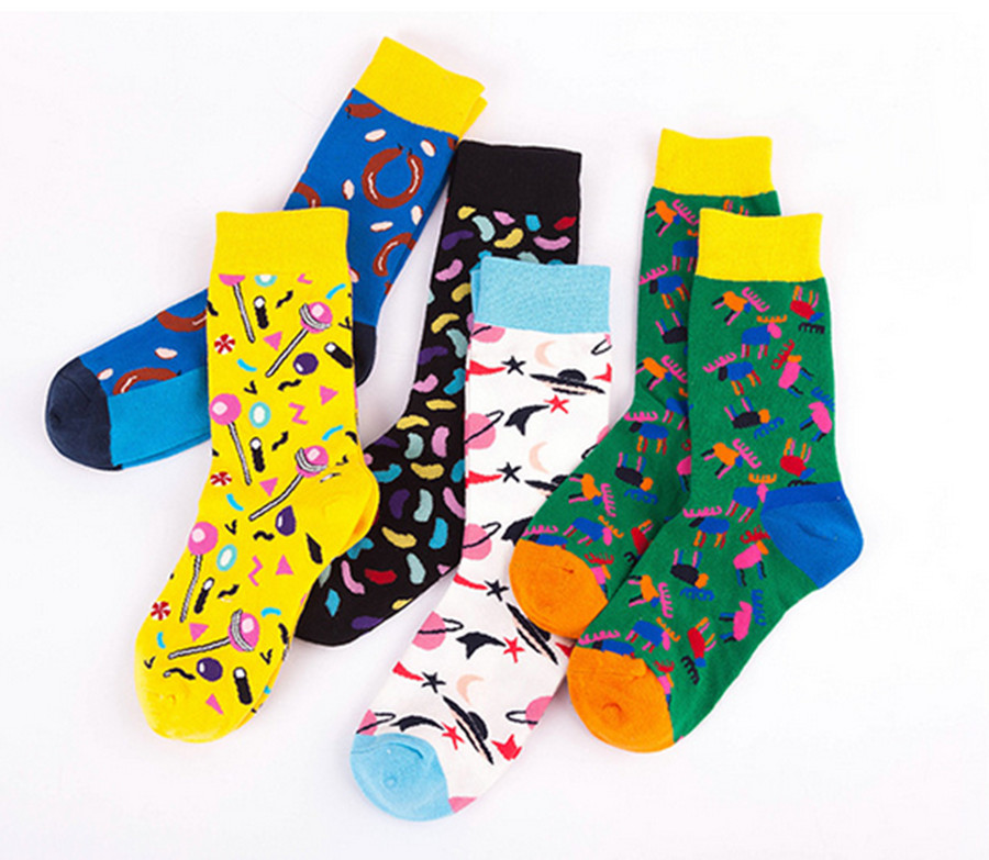 5pcs10pcs Animation Design Socks Funny Cartoon Fruits Banana Avocado Lemon Egg Cookie Donuts Food Happy Skateboard Socks