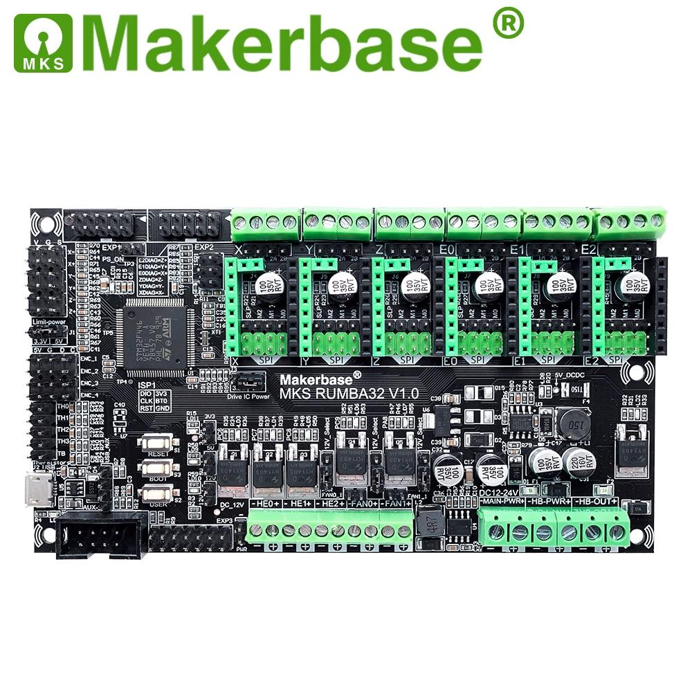 Makerbase MKS Rumba32 180MHZ 32-Bit 3d Printer Control Board 6 Motor Driver Ports Support Marlin 2.0 MKS TFT TMC2209 TMC2208