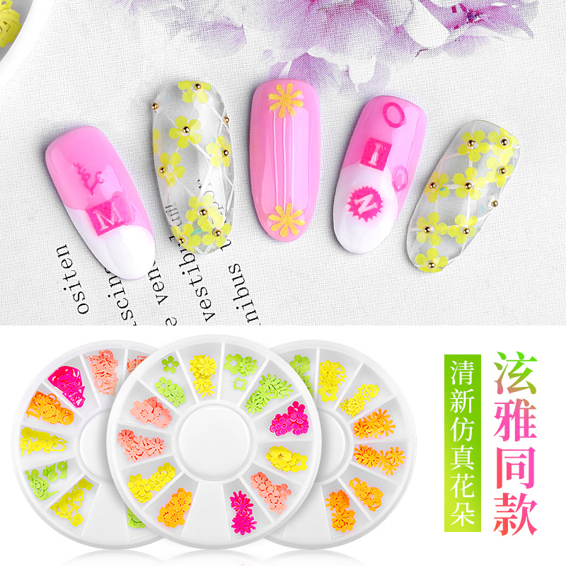 New Style Hyuna Celebrity Style Manicure Imitation Flowers Fluorescent Color Nail Sticker 12 Grid Mixed Nail Ornament