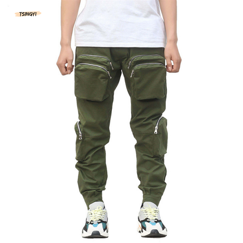 Tsingyi Hight Street Zipper Multi-pocket Cargo Pants Black Army Green Fashion Multi-pocket Jogger Men Trousers