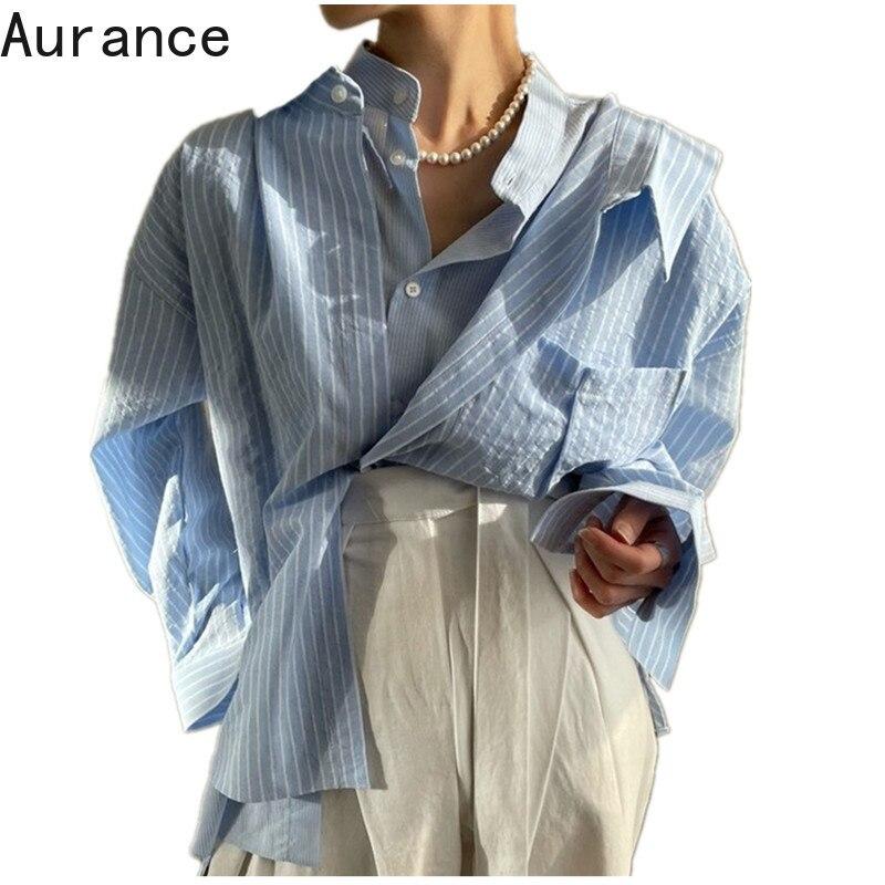 [Aurance] Women Blouse Bandage Long Sleeve Striped Woman Blouses Shirts Fake Two Asymmetry Loose Casual Women Tops Bloues 2021|Blouses & Shirts| - AliExpress