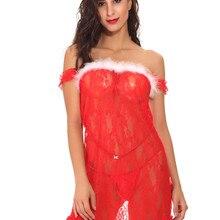 Рождественское сексуальное женское белье с открытыми плечами, женская ночная рубашка, кружевное полупрозрачное Эротический пеньюар, женские вечерние пижамы с открытой спиной