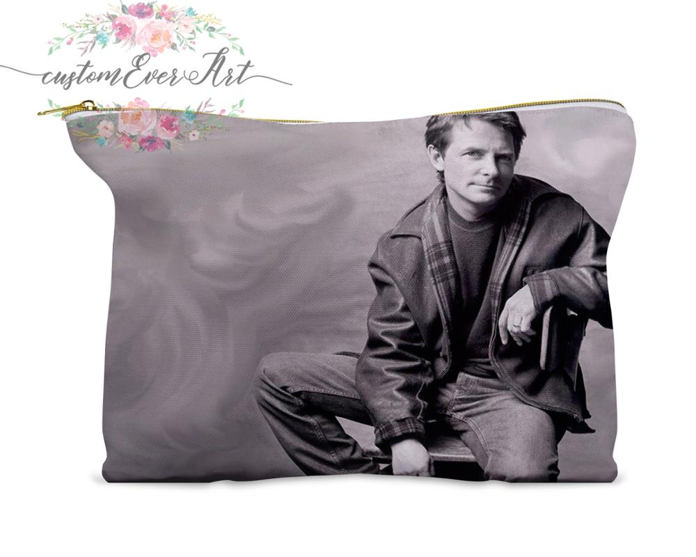 Michael J. Fox Cosmetic Bag Personalized Small Makeup Bag Funny Makeup Organizer Toiletry Bag Zipper Pouch