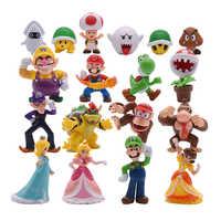 18 unids/lote Super Mario Bros figuras de acción de PVC juguetes Yoshi melocotón princesa Luigi chico tímido Odyssey Donkey Kong modelo muñecas de dibujos animados