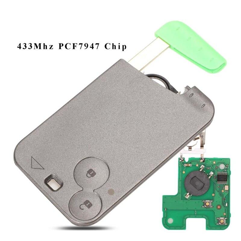 Bilchave 2 أزرار مفتاح البطاقة الذكية 433 ميجا هرتز PCF7947 ID46 شريحة جهاز إرسال واستقبال لرينو لاغونا Espace التحكم عن بعد مفتاح السيارة