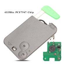 Bilchave de carro com 2 botões, smart card, 433mhz, pcf7947 id46, transponder, chip para renault laguna space, controle remoto