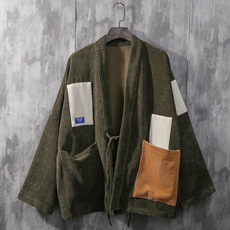 Kimono Cardigan Men Coat Japanese Kimonos Men Jacket Streetwear Clothes Mens Kimono Jacket Men Hip Hop Haori Obi Yukata KK3195
