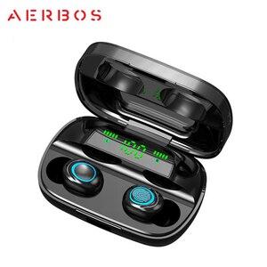 Image 2 - Беспроводные наушники AERBOS Tws S11, Bluetooth 5,0, сенсорное управление, наушники вкладыши с микрофоном, мини наушники с внешним аккумулятором 3500 мАч