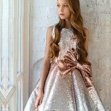 Пышное Тюлевое платье с цветочным узором для девочек; платье без рукавов с круглым вырезом и аппликацией; платье для выпускного вечера; праздничное платье для свадьбы; платья для первого причастия