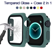 360 full Screen protector Bumper Frame matte hard Case for Apple watch 6 SE 5 4 3 2 1 cover Tempered glass film for iwatch 4 5 cheap ProBefit Plastic CN(Origin) Watch Cases Case for iWatch Case Tempered Glass for Apple Watch Case Protector for Apple Watch 4
